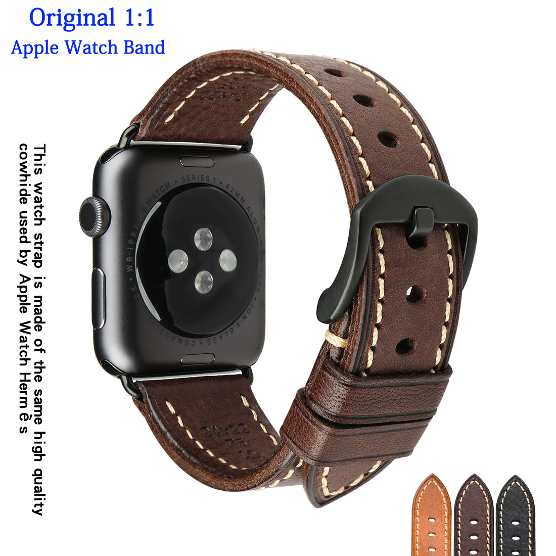 Luxury Original Apple Watch Band For iWatch 6/SE/5/4/3 44mm 40mm 42mm 38mm Handmade Italian Real Leather Apple Watch Strap