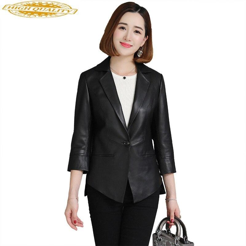 Spring Genuine Leather Jacket Women Real Sheepskin Coat Korean Blazer Leather Jackets Ladies 2020 Campera Mujer KJ1969