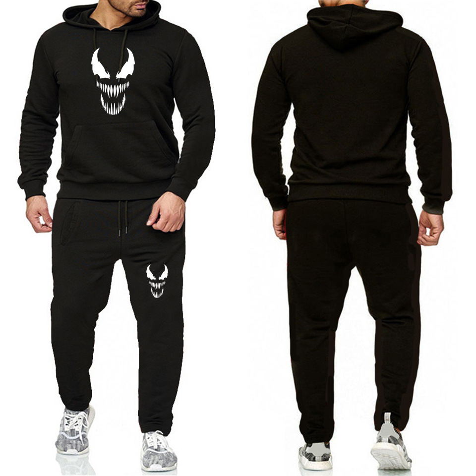 Marvel Europe And America MEN'S Hoodie Venom T-shirt Leisure Sports Suit Men Fleece Sweater Two-Piece Set