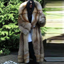 Fashion Women long Blue Fox Fur Coat Super Luxury Big Collar Whole Skin Natural Real Top Quality Outerwear Clothing