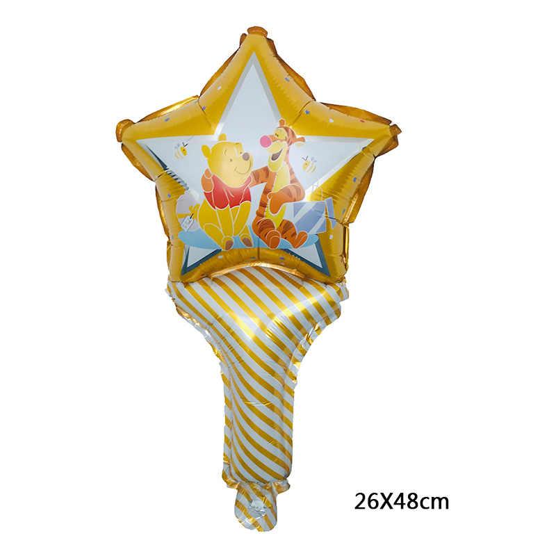 De alta calidad nuevo 1 piezas pentagrama estrella sosteniendo palo Winnie el oso globo de la hoja de vacaciones feliz fiesta decoración de la boda de bebé regalo