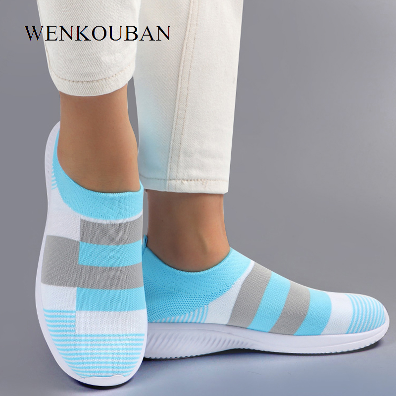 Women Vulcanized Shoes Casual Women Sneaker Shoes 2020 Female Knitted Flat Shoes Ladies Slip On Footwear Zapatos De Mujer