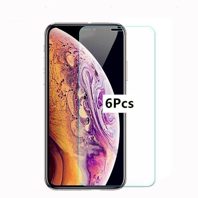 6 Miếng Kính Cường Lực Cho iPhone XR X XS 11 Pro MAX Tấm Bảo Vệ Màn Hình Bảo Vệ Cho iPhone 6 iPhone 6S 7 8 Plus 5 5S 5C SE 2020