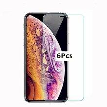 6ชิ้นกระจกนิรภัยสำหรับiPhone XR X XS 11 Pro MAXป้องกันหน้าจอป้องกันฟิล์มสำหรับiPhone 6 6S 7 8 Plus 5 5S 5C SE 2020