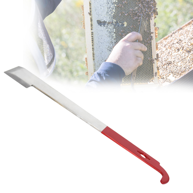 2 In 1 Hive Tool Beekeeper Scraper Red J Type Tail Beekeeping Tools Scraper Stainless Steel Beekeeping Equipment