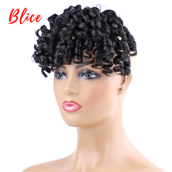 Blice Natural Black Fake Curly Fringe Two-Clips In Bang Synthetic Hair Extensions With 100% Kanekalon Hairpieces For Women