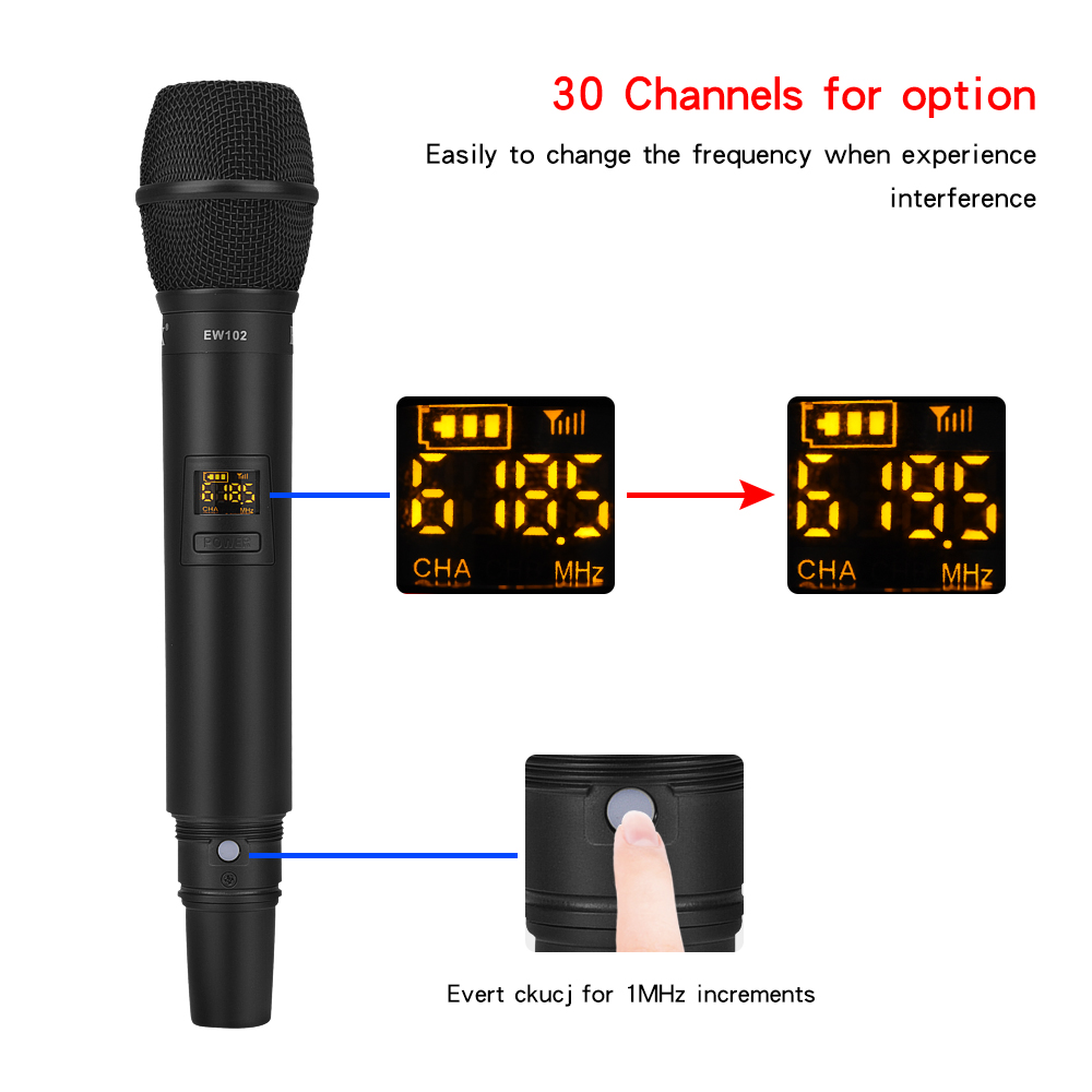 EYK EW102 UHF Wireless Microphone System Dynamic Dual Handheld Mic with Portable Rechargeable Receiver for Karaoke Church Speech