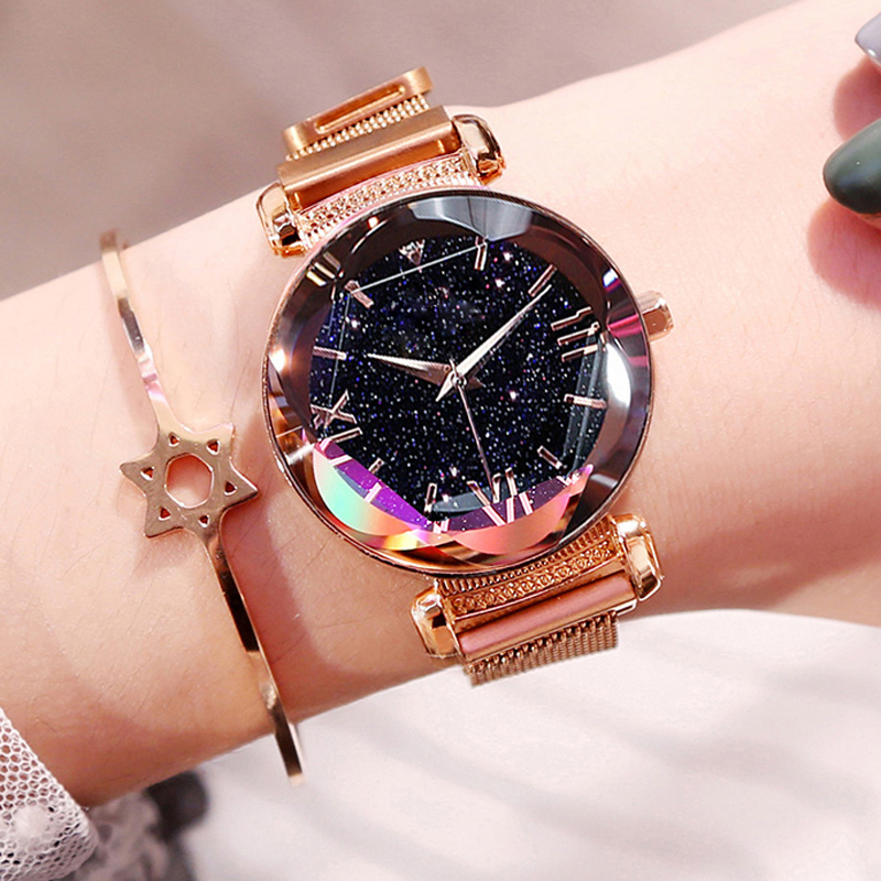 Dropshipping Luxury Rose Gold Women Watches Fashion Diamond Ladies Starry Sky Magnet Watch Female Wristwatch For Gift Clock 2019