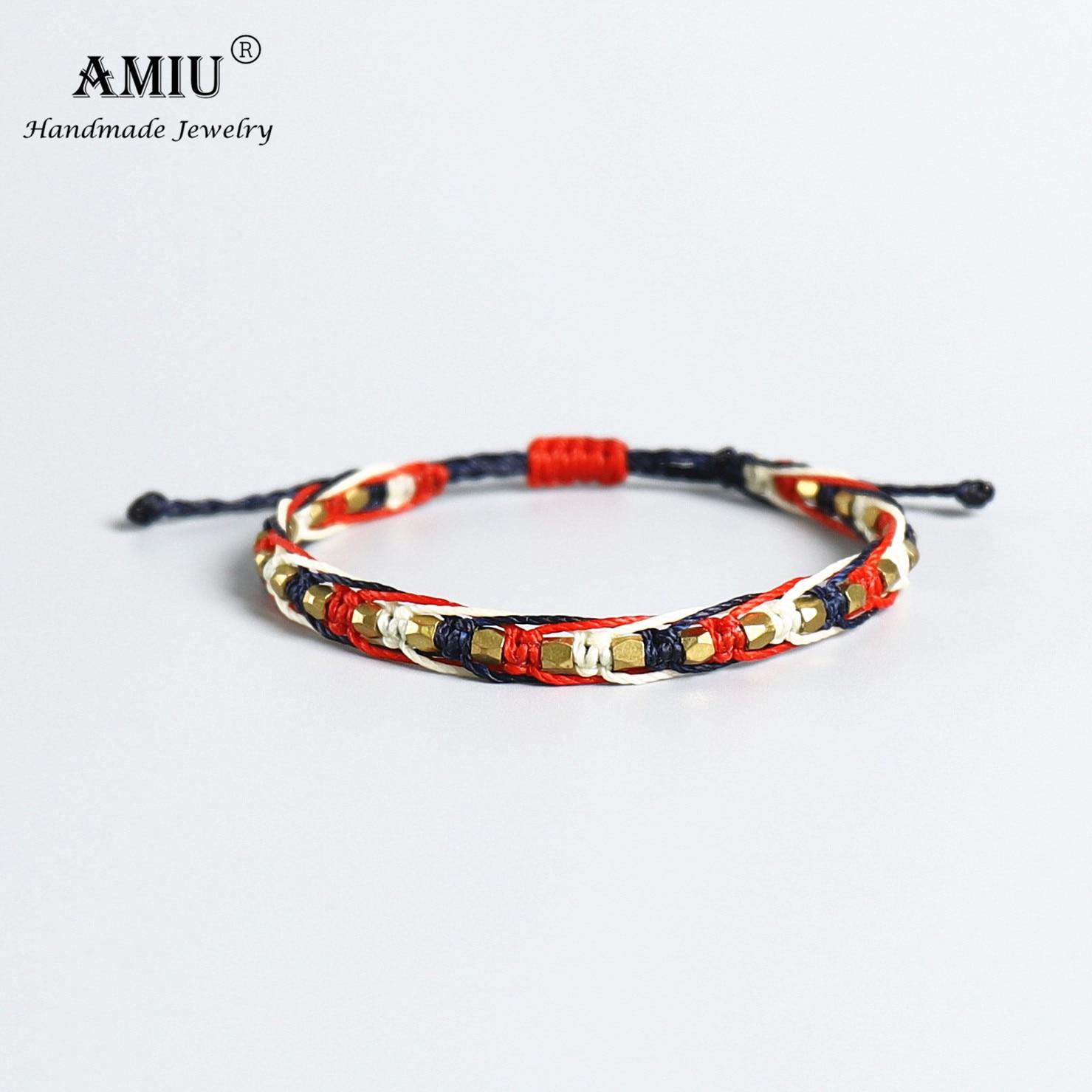 AMIU Handmade Copper Bead Waterproof Wax Thread Lucky Rope Macrame Bracelet & Bangles For Women Men Friendship Woven Bracelets