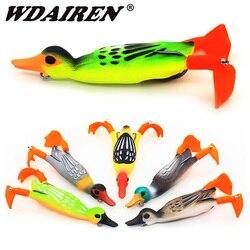 1 шт., двойной пропеллер, Флиппер, утка, рыболовные приманки, приманка для рыбы в виде мягкой лягушки, 9,5 см, 11,2 г, 3D глаза, искусственная приман...