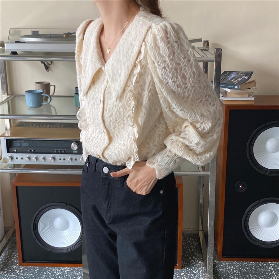 Ha323244d31e54184aae6499bb346e7a2z - Spring / Autumn Chelsea Collar Long Sleeves Lace Blouse