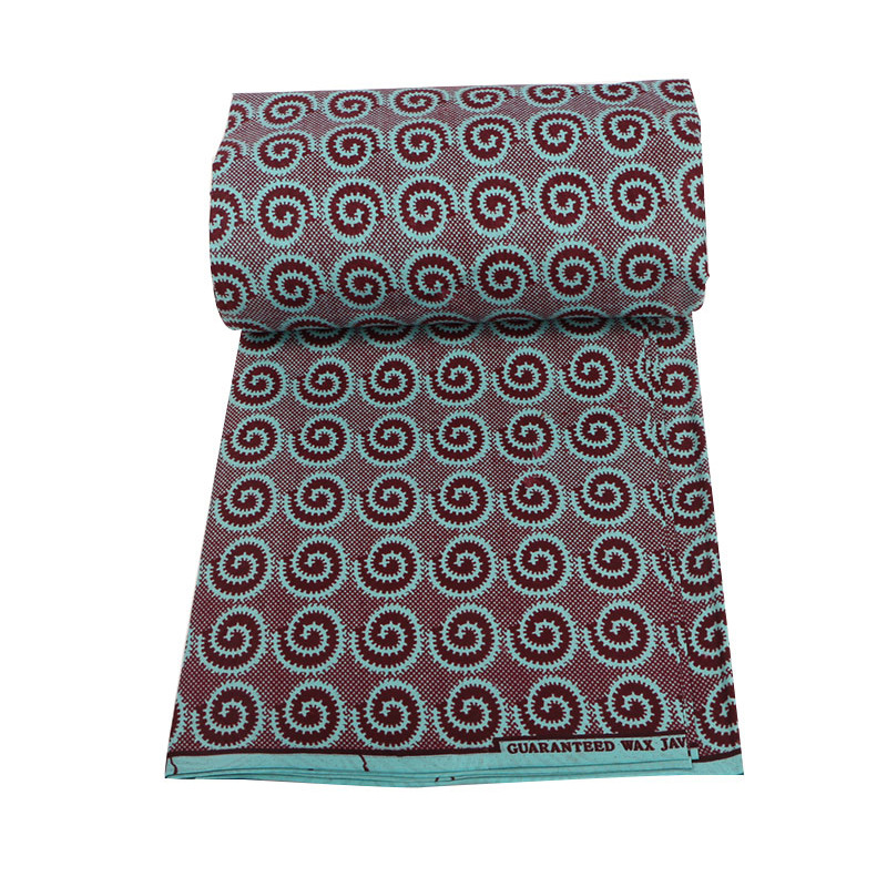 Latest Arrivals 100% Polyester Scarlet Color Vortex Pattern Printed African Wax High Quality Wax Printed Fabric