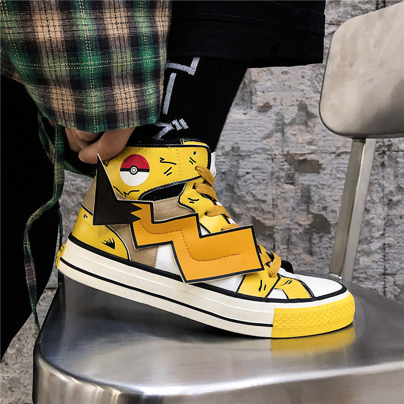 Ins New Fashion Pokemon HIP-HOP Breathable Cartoon High Mens Canvas Sneakers  High Top Vulcanized Shoes Men Canvas Casual Shoes