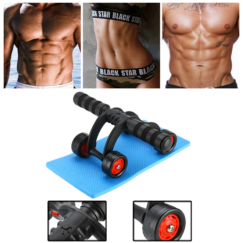 Abdominal Wheel AB Roller With Mat for Waist and Abdomen Fitness Exercise Gym Training Equipment Power Roller image