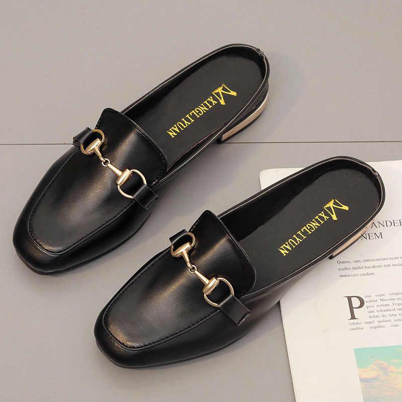 ของแท้รองเท้าหนังสตรี Mules 2020 ฤดูร้อน Luxury ล่อ Casual ผู้หญิงสบายรองเท้า Loafers Flats รองเท้าผู้หญิงรองเท้าแตะรองเท้า