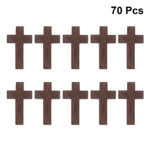 70pcs DIY Wooden Crafts Christian Cross Decorations Jewelry Necklace Ornaments for Men