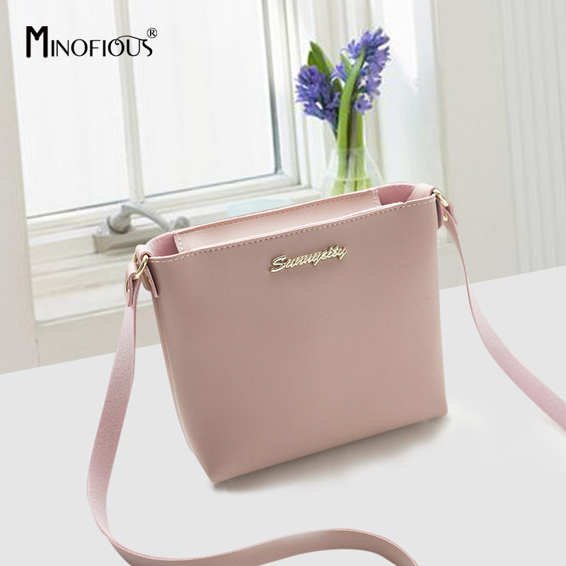 MINOFIOUS  Fashion Casual Phone Coin Shoulder Bag Small Women PU Leather Messenger Bags Solid Clutch Zipper Crossbody Mini Bag