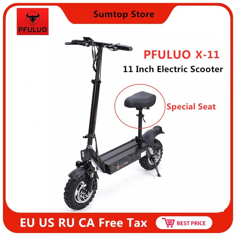 PFULUO X-11 Scooter électrique intelligent avec siège 48V 1000W moteur 11 pouces 2 roues planche à roulettes 50 km/h planche à roulettes Hoverboard tout-terrain
