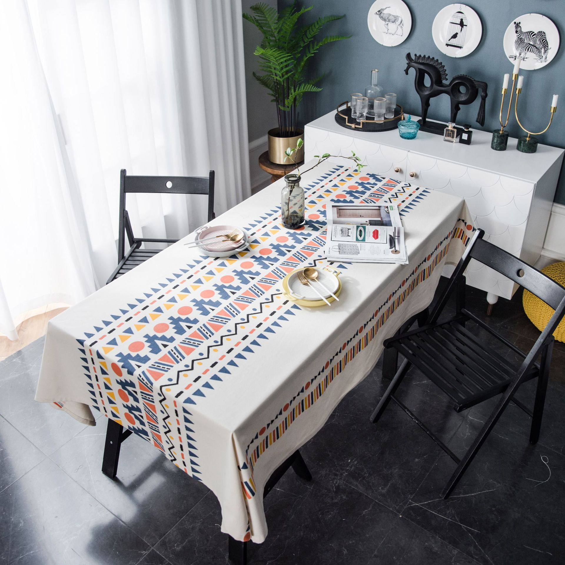 Bohemia Tablecloth Water -tight Wax Rectangular Wallpaper Home Table Cover Protector Party Banquet Table Cover Dining