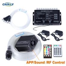 블루투스 광섬유 스타 라이트 16W RGBW 스마트 폰 APP RF 제어 광섬유 촬영 유성 효과 어린이 룸 조명
