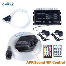 Fibre optique lumineuse en Bluetooth, éclairage pour chambre denfant 16W RGBW, contrôle par application RF, prise de vue avec effet de météore
