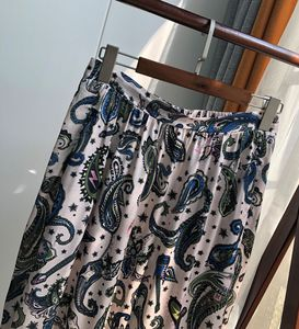 Image 2 - Women Skirt Vintage Print Stitching Asymmertrical Lace Elastic Waist Midi Skirt
