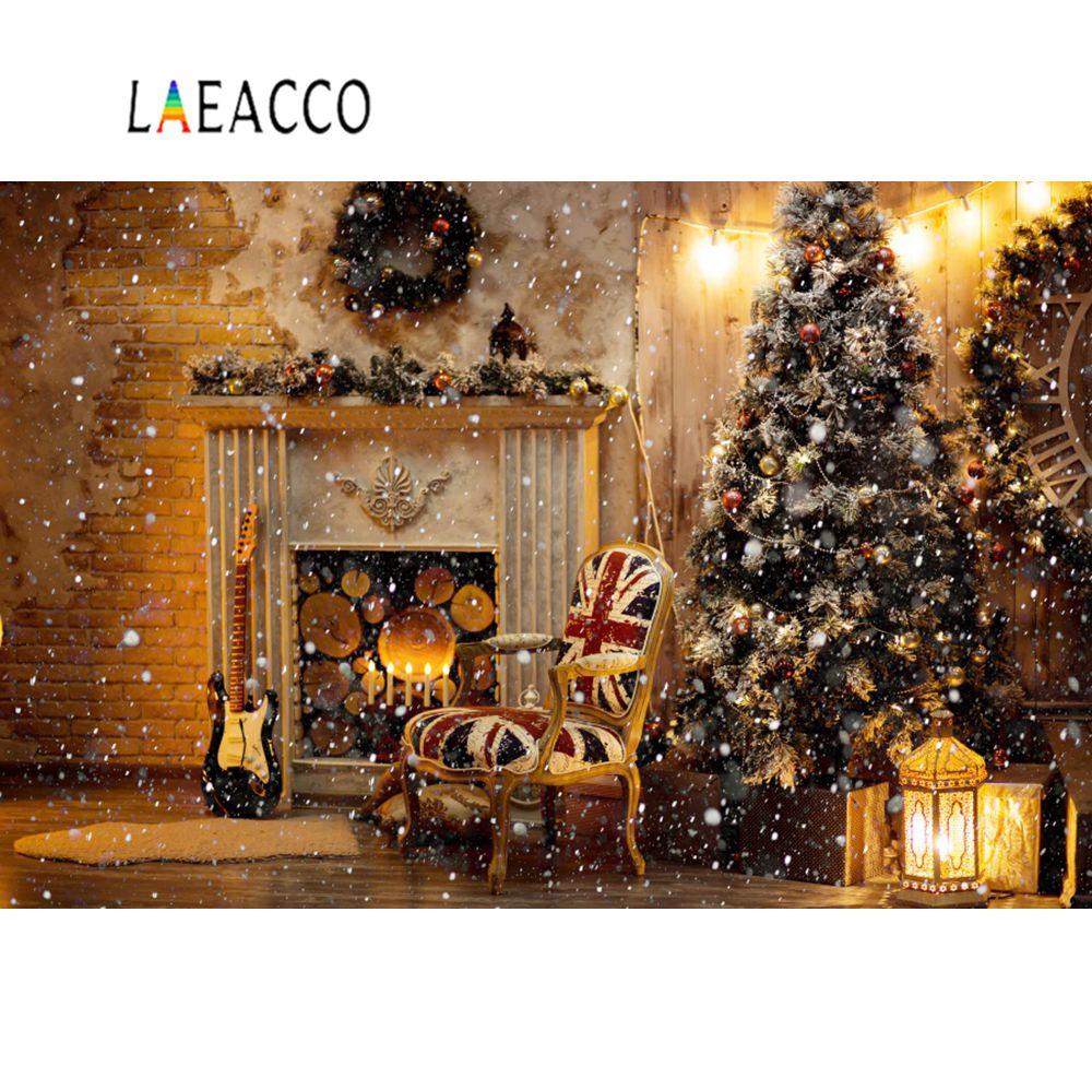 Laeacco Brick Wall Snowflake Christmas Tree Fireplace Gift Wreath Photo Backdrops Backgrounds Photocall Studio