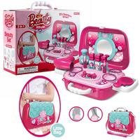 Pretend Play Kids Toys Makeup Set Hairdressing Simulation Plastic Toy For Girls Dressing Cosmetic Travel Handbag Box