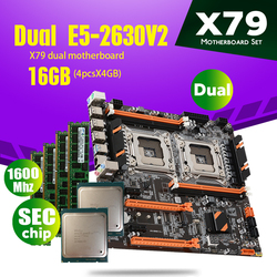 atermiter X79 Dual CPU motherboard set with 2 × Xeon E5 2630 V2 E5 2630V2  4 × 4GB = 16GB 1600MHz PC3 12800 DDR3 ECC REG memory