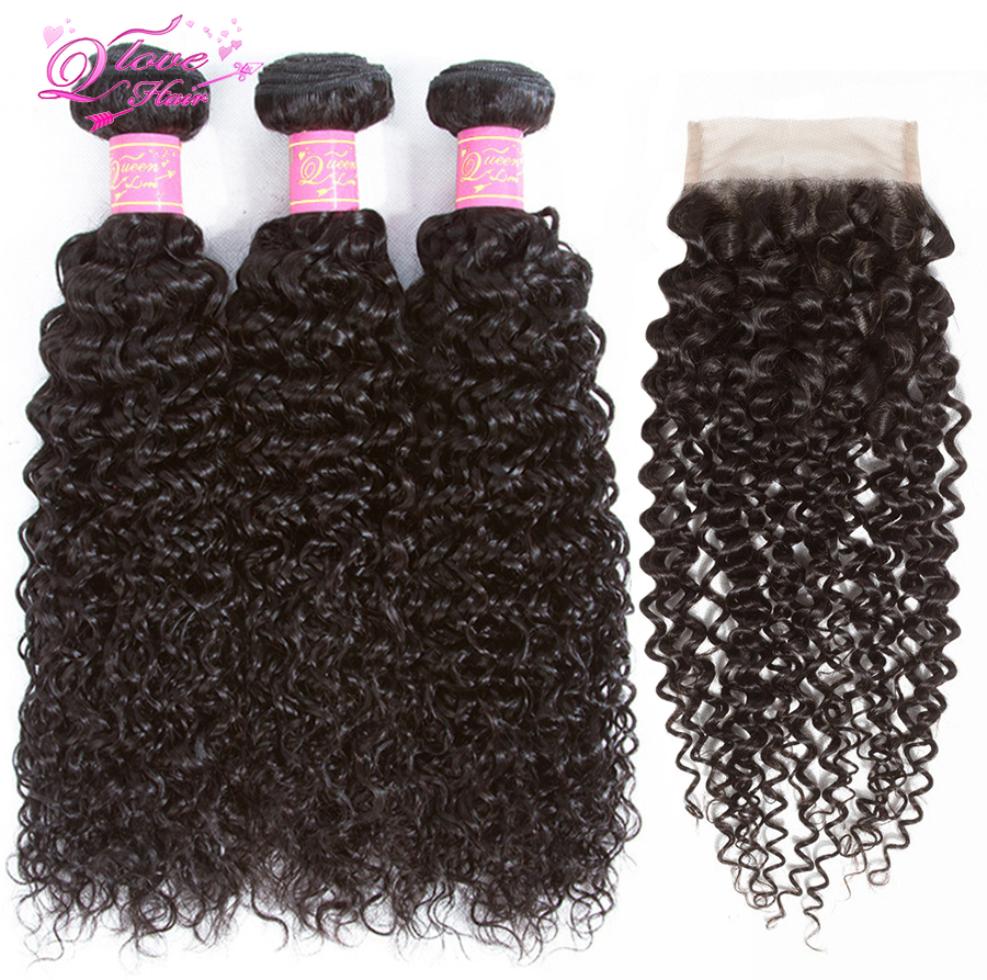 Queen Love Hair Malaysian Kinky Curly Hair 3 Bundles With Closure 100% Non-Remy Human Hair Weave Bundles Natural Color Extension