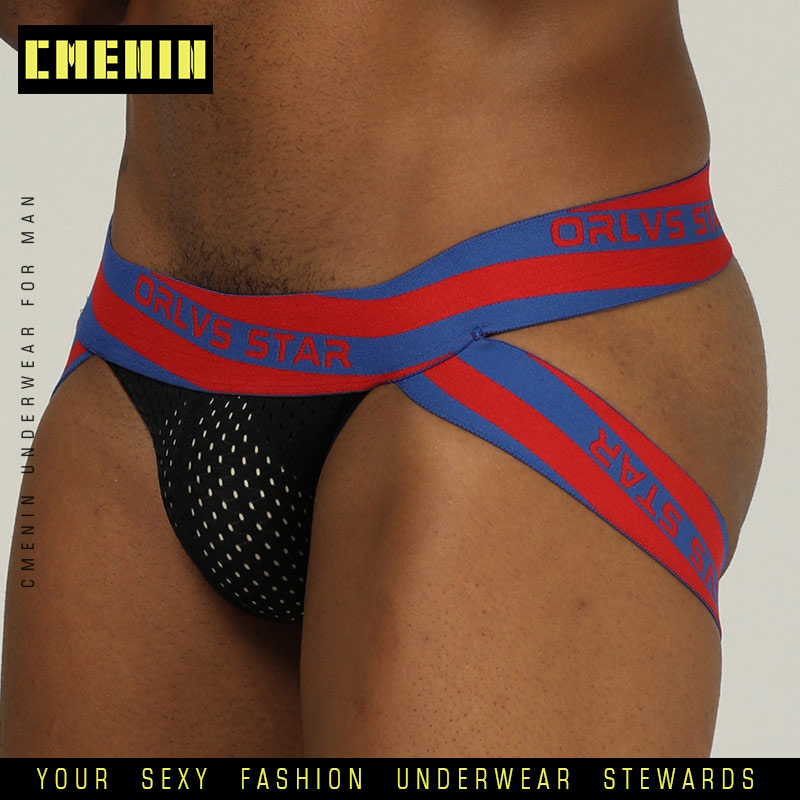 Sexy Men Underwear Male Mesh Underpants Jockstrap Gay Mens G-Strings Cuecas Men Brief Bikini Under Wear Man Srting Man OR206