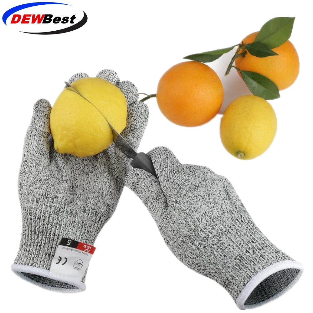 Image 3 - Anti Cut Proof Gloves Hot Sale dewbest Grey Black HPPE EN388 ANSI Anti cut Level 5 Safety Work Gloves Cut Resistant Gloves-in Self Defense Supplies from Security & Protection
