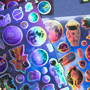 Космические золотые лазерные наклейки Набор Sci-Fi Вселенная межзвездные Приключения домашний планировщик DIY Дневник дети подарок украшения ...