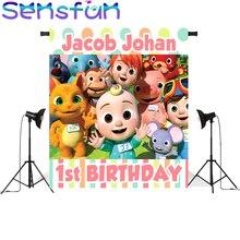 子供1st誕生日パーティーの装飾背景写真スタジオcocomelonテーマ写真撮影の背景新生児photocall boda