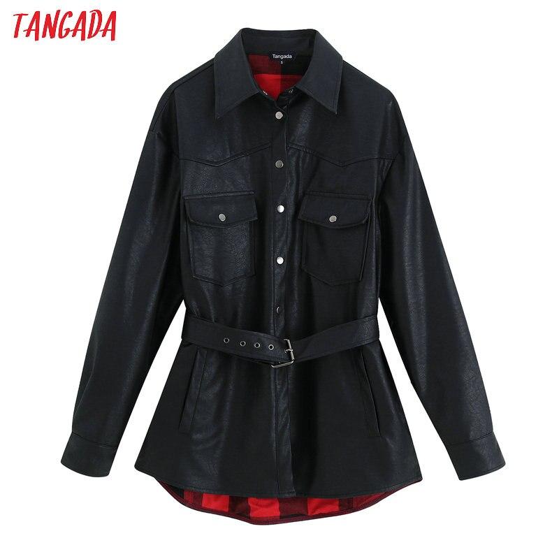 Tangada femmes faux cuir veste manteau avec ceinture col rabattu dames à manches longues 2019 hiver Streetwear noir manteau BE03