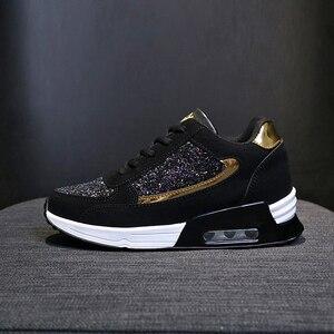 Image 3 - 2019 moda kadın rahat ayakkabılar yüksekliği artan spor ayakkabı kadınlar Glitter Sneakers platformu yürüyüş ayakkabısı zapatillas mujer