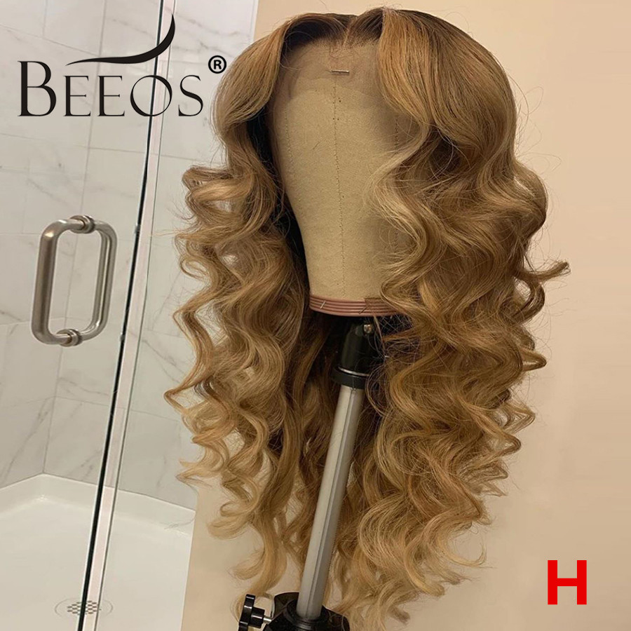 HD Transparent Lace Ombre Light Blonde 13x6 180% Deep Part Lace Front Human Hair Wig  Loose Wave Bleached Knots Remy Hair