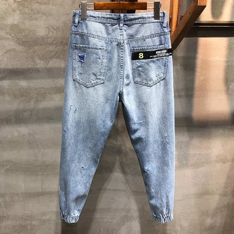 KSTUN Ripped Jeans Men Cropped Pants Light Blue Cotton Hip hop Korean Style Jogger Jeans Drawstring Waist and Baggy Legs Distressed 12
