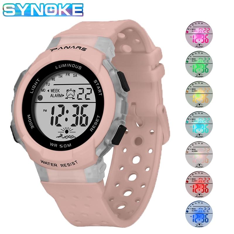 SYNOKE Band Uhren Für Kinder Mädchen 50M Wasserdichte Digitale Elektronische Uhr Kid Studenten Sport Stil Bunte leuchtende Uhr Stunden