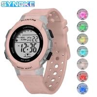 SYNOKE-reloj electrónico Digital para niños y niñas, cronógrafo luminoso colorido de estilo deportivo, resistente al agua hasta 50M
