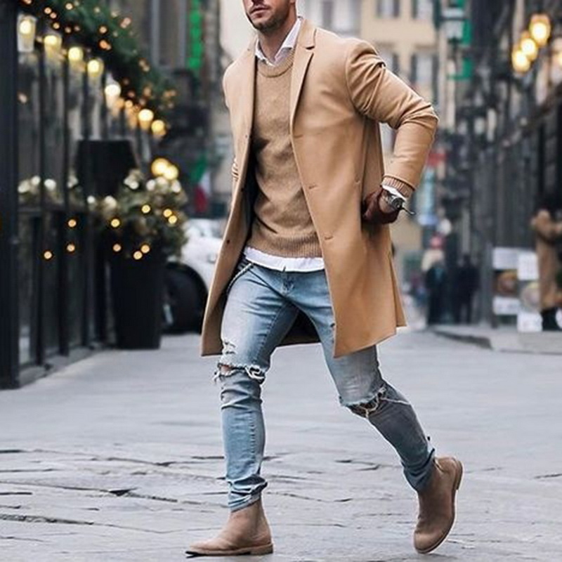 2020 Spring  Mens Brand Fleece Blends Jacket Male Overcoat Casual Solid Slim Collar Coats Long Cotton Trench Coat Streetwear