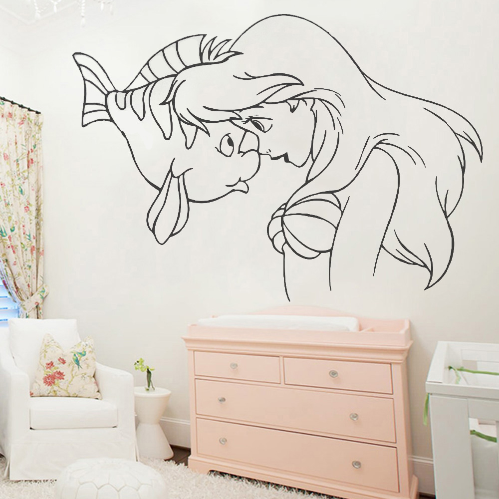 US $5.78 30% OFF|Princess Little Mermaid Wall Decals Girls Room Home  Decoration Baby Bathroom Bedroom Vinyl Wall Anime Posters Stickers Y586 on  ...