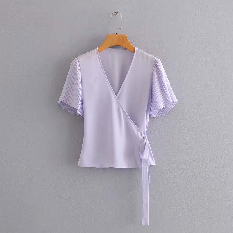 New 2020 Women Cross V Neck Solid Lace Up Bow Shirt Pleated Short Sleeve Blouses Women Roupas Femininas Chemise Shirts LS6587