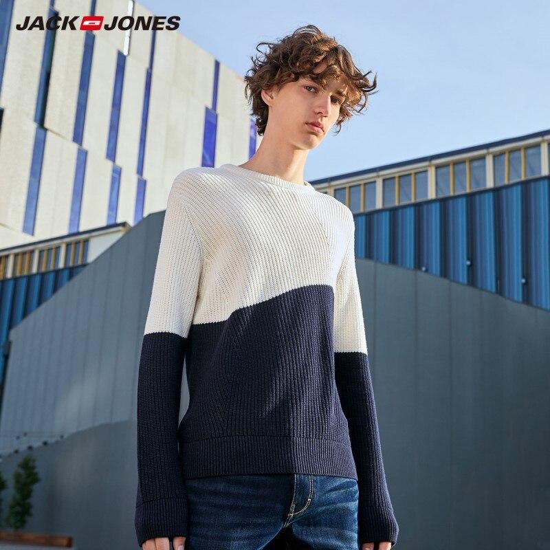 JackJones Men's Winter Stitching Color Round Neck Sweater 219324514