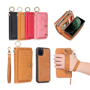 Image 2 - Multifunctional fashion woven pattern zipper FHX SB mobile wallet for iPhone 6S 7 8 Plus X XR XS MAX 11 11Pro MAX mobile wallet