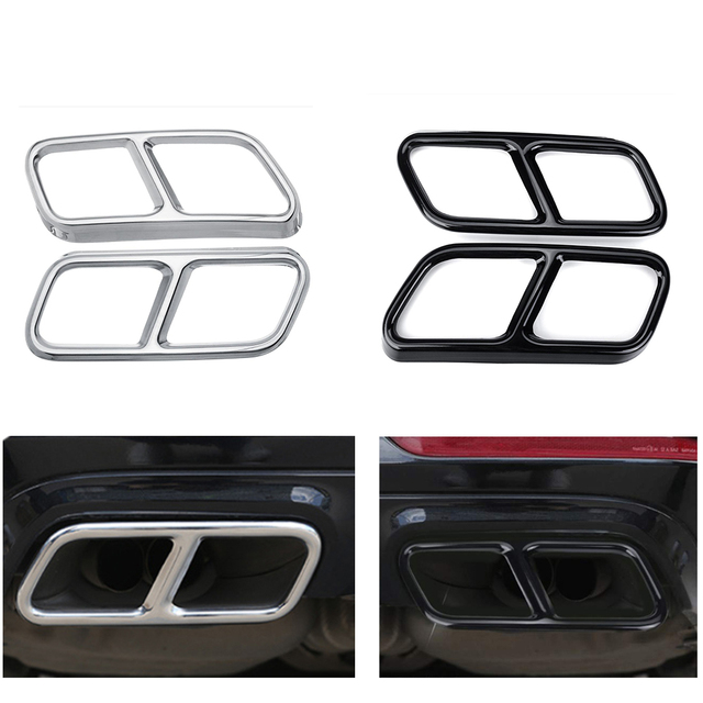 Yubao Pair Black / Silver Rear Dual Exhaust Pipe Sticks Covers For Mercedes for Benz S class W221 W222 C217 A217 W251 GL X166
