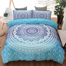 Bohemian Bedding Set Blue Queen Twin King Single Full Size Bed Cover Quilt Set Designer Bedding Luxury Jogo Juego Roupa De Cama(China)