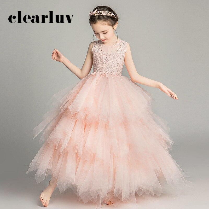 Pink Princess Dresses For Weddings B039 Elegant Sleeveless Flower Girl Dresses 2020 New Appliques Crystal Tulle Girls Ball Gown