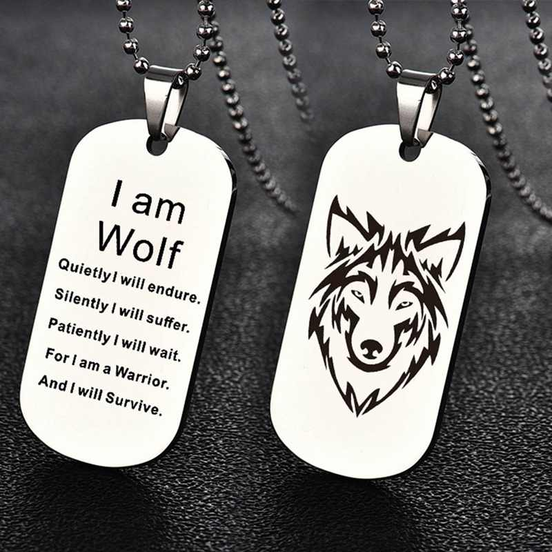 Mode Mannen Vrouwen Rvs Wolf Hoofd Dog Tag Hanger Ketting Gift