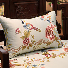 Wholesale sofa decorative pillow case chinese traditional embroidered decorative sofa seat silk cushion covers(China)